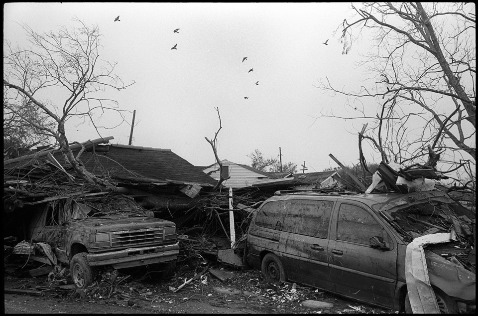 lower 9th ward after hurricane katrina - destroyed cars