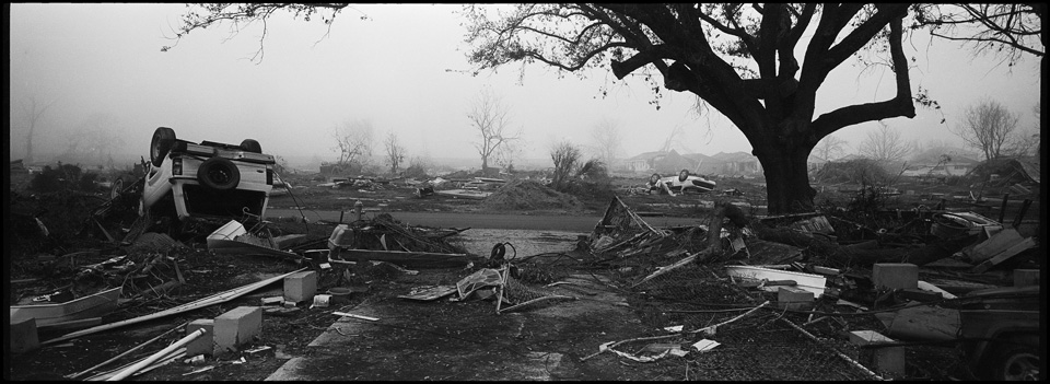 lower 9th ward after hurricane katrina - panoramic of destroyed neighborhood