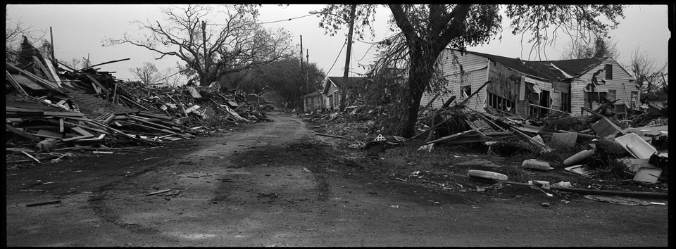 lower 9th ward after hurricane katrina - panoramic of street