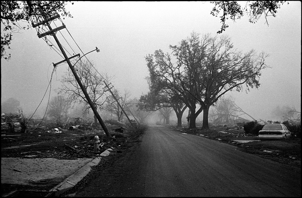 lower 9th ward after hurricane katrina - street with knocked over power lines