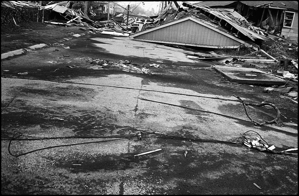 lower 9th ward after hurricane katrina - roof in middle of the street