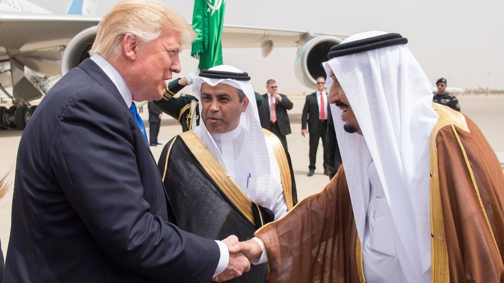 Donald Trump greets Saudi King Salman in Riyadh on May 20.