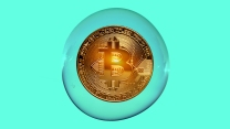 An illustration of a bitcoin hovers inside a bubble.