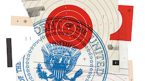 Illustration of overlapping letters and the presidential seal