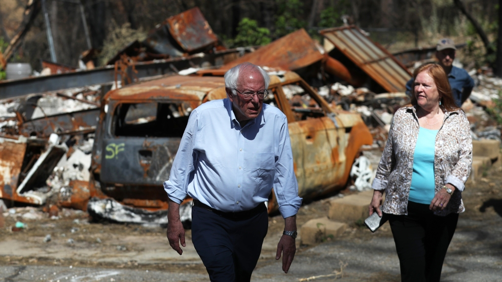 Bernie Sanders visits Paradise, California, the scene of a wild fire