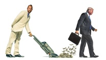 A photo of Brad Parscale in a suit vacuuming up cash falling out of Donald Trump's briefcase.