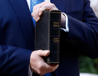 Close up of Trump's bible spine