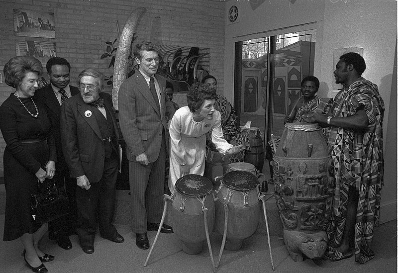 Joan Mondale playing drums