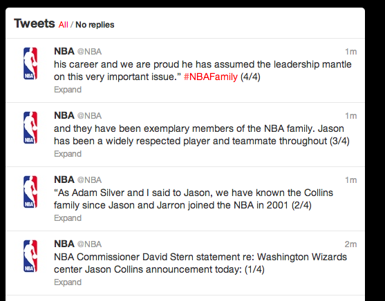NBA response to Collins announcement