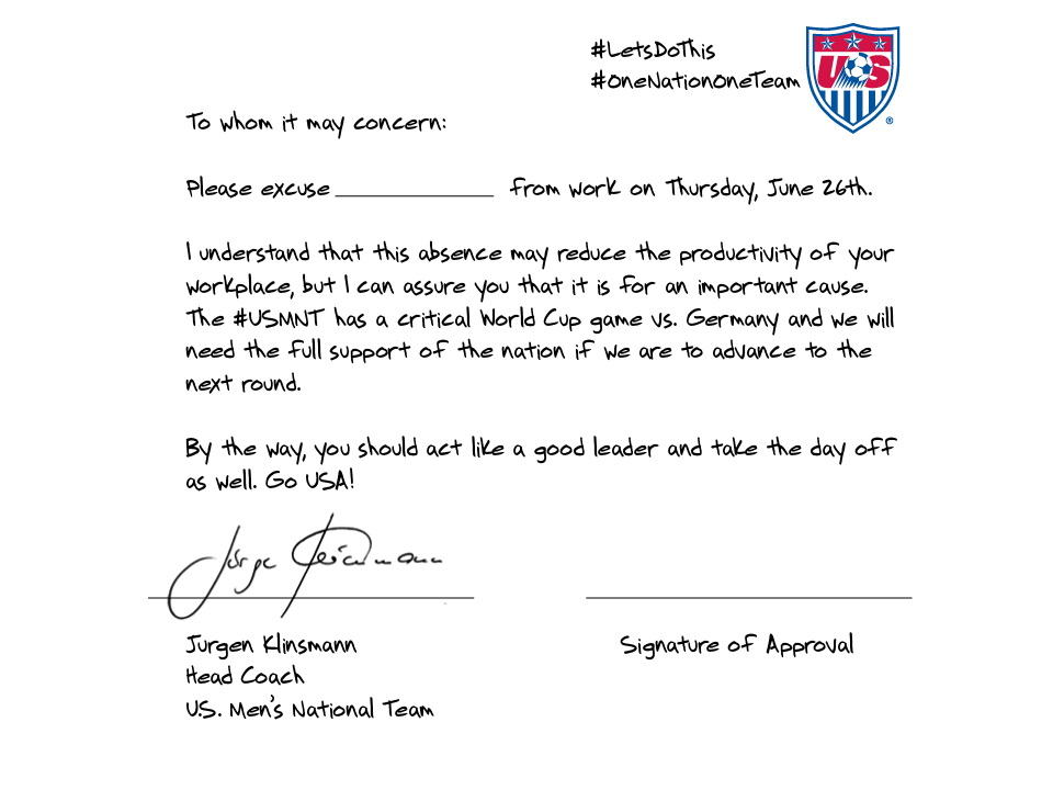 US Soccer excuse note world cup