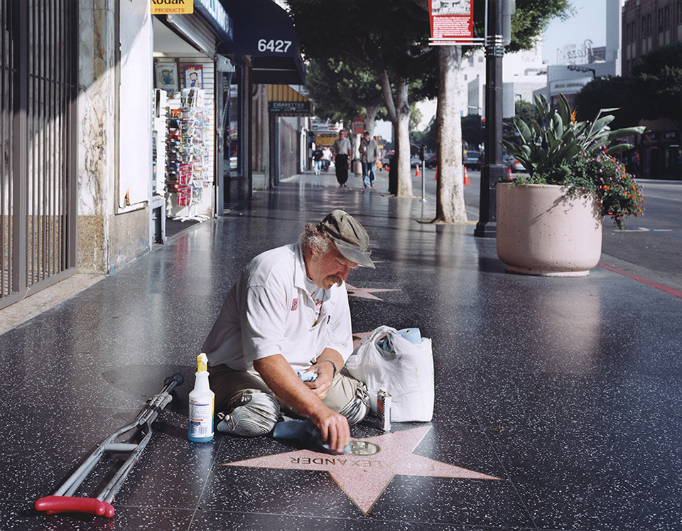 Legless star cleaner on the Hollywood Walk of Fame