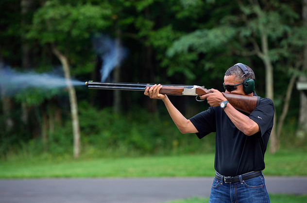 Obama skeet shooting camp david