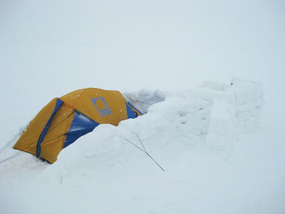 tent with snow walls