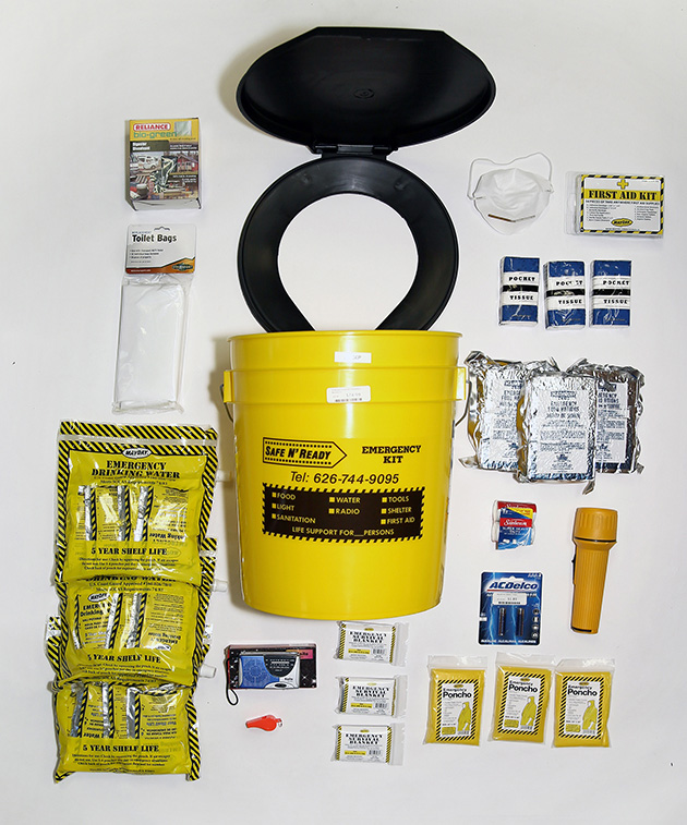 The SNR bag retails for $59.99 and contains supplies for up to 3 people, including MREs, water, a transistor radio, a whistle, emergency ponchos and blankets, and tissues.