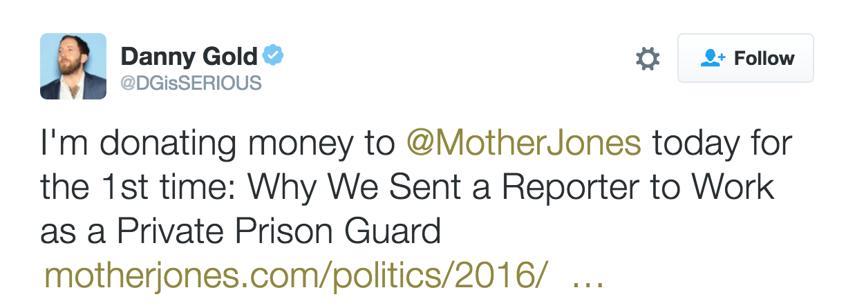 I'm donating money to Mother Jones today for the first time.