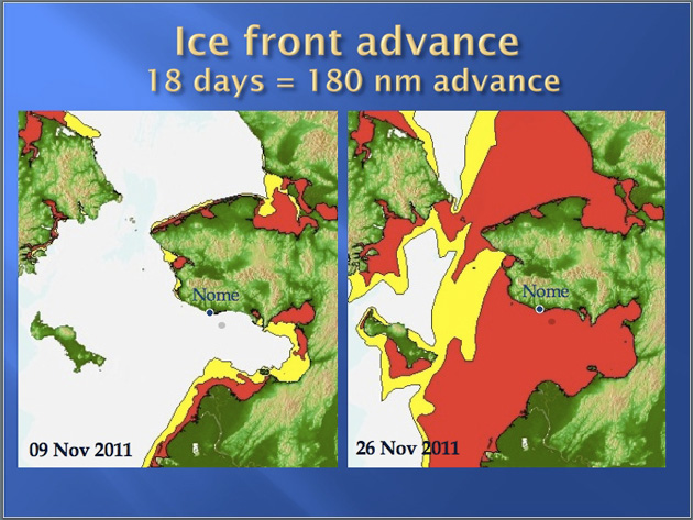 Advance of the sea in in the Bering Sea near Nome from November 9-26, 2011.  Image courtesy of the United States Coast Guard