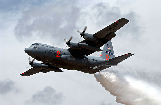 C-130 air tanker dropping water: Technical Sergeant Rick Sforza, United States Air Force, via Wikimedia Commons