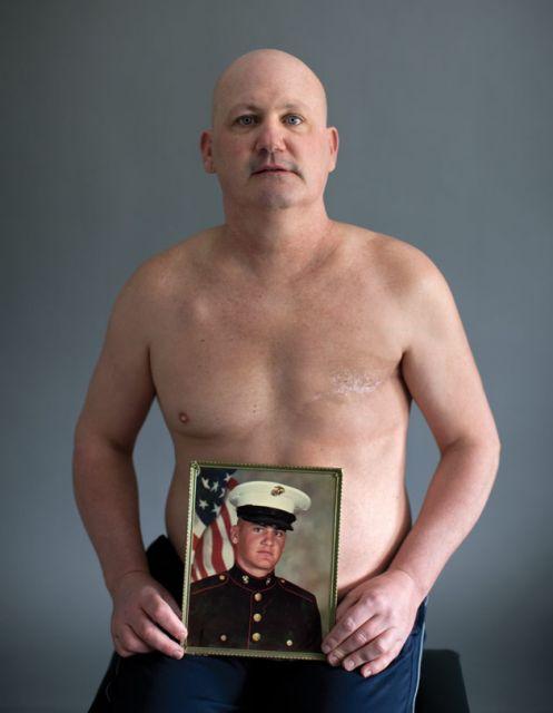 """I felt like a freak,"" Peter Devereaux recalls. ""I got no breasts! How can this be? I'm a Marine, I'm a badass!"": Photo: Grant Delin"