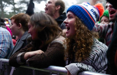 The Dr. Dog beanie in action. Deanna Pan/Mother Jones
