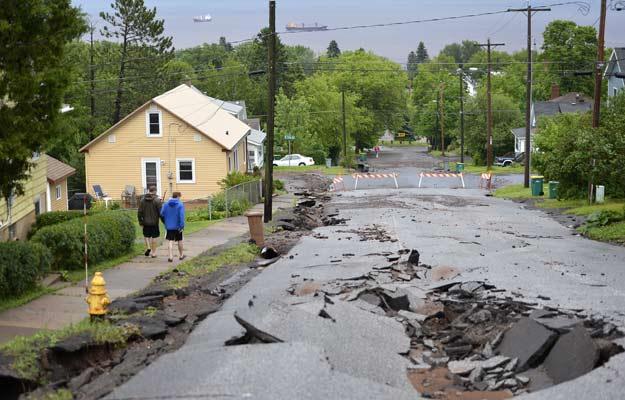 June 20, 2012 - Flooding in Duluth, Minn. has torn up area roads.  Brian Peterson/Minneapolis Star Tribune/ZUMAPress