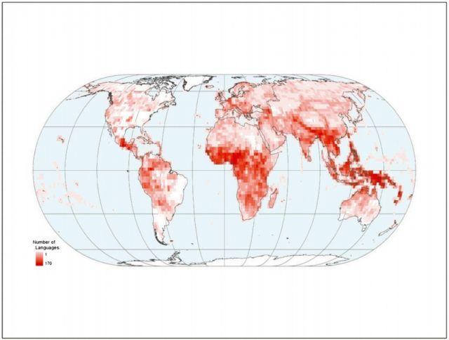 Geographic distribution of indigenous and nonmigrant languages in 2009: L. J. Gorenflo, et al. PNAS. DOI:10.1073/pnas.1117511109