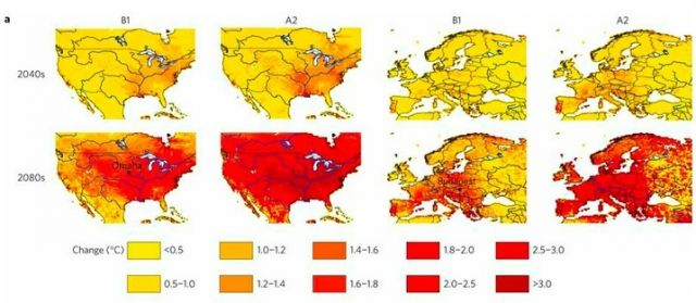 Increases in river water temperatures (click for larger version) Michelle TH van Vliet, et al, Nature Climate Change, doi:10.1038/nclimate1546