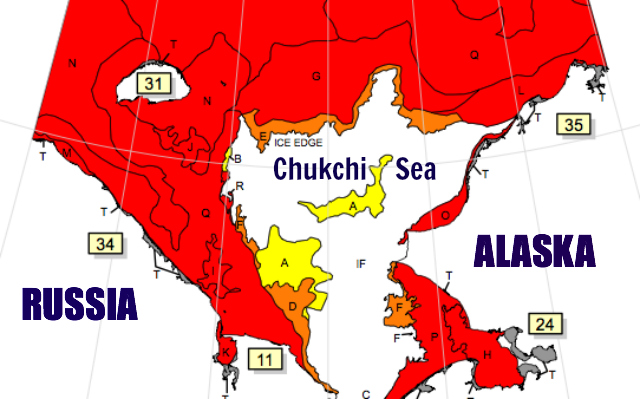 Sea ice extent in the Chukchi Sea as of 12-16 Nov 2012: National / Naval Ice Center
