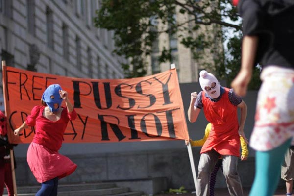 Action at the UN Plaza, in San Francisco. Audrey Wright/Freepussyriot.org