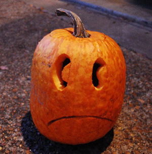 Sad climate-change pumpkin is sad. Kmo139/Flickr