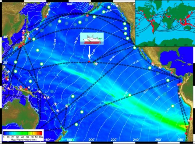 Position of R/V Kilo Moana during 2010 Chile tsunami: James H. Foster, et al. GRL. 2012. DOI:10.1029/2012GL051367