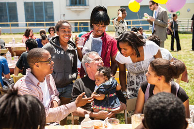 Maria's history teacher, Robert Roth, at a picnic celebrating Mission's gain in test scores. Photo by Winni Wintermeyer