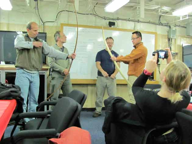 Scientists testing the bows. Left to right: Bob Pickart, Frank Bahr, David Forcucci, Donglai Gong. Julia Whitty
