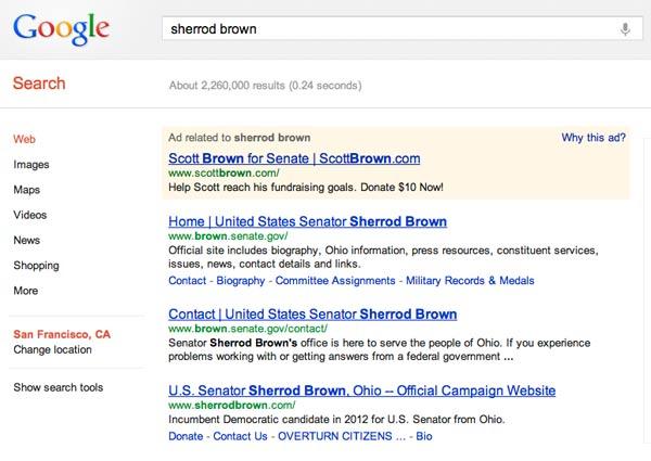 When Lynn Raskin googled Democratic Senator Sherrod Brown, she ended up clicking on an ad for Republican Senator Scott Brown.  Screenshot: Google